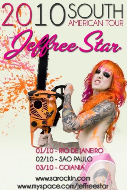 Cartaz de divulgação de Jeffree Star no Brasil
